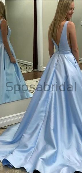 A Line Simple Blue Satin V8 8 Neck Long Formal Modest Prom Dresses Pd1729 #modestprom