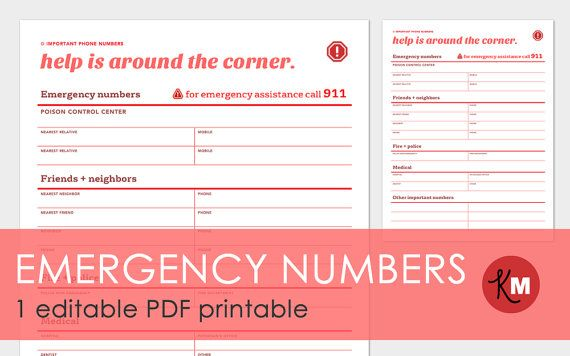 Important Phone Numbers form for Emergency Contacts