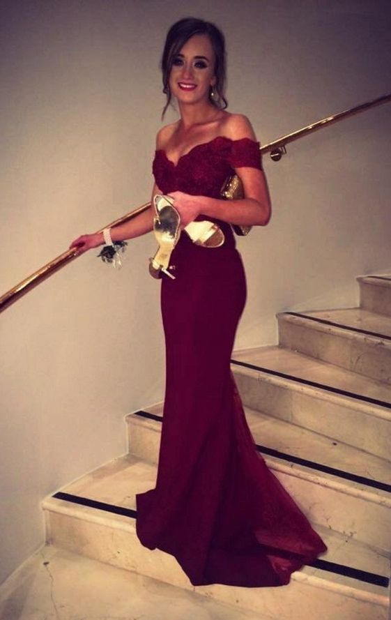 Elegant Mermaid Burgundy Off-the-Shoulder Sweep Train Prom/Evening ...