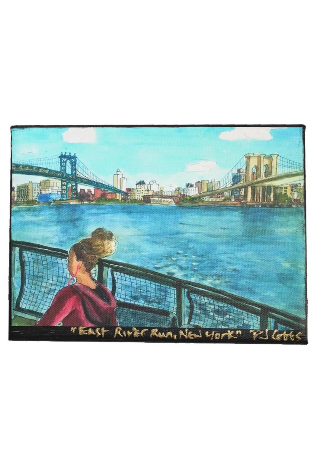 """Brooklyn Bridge Canvas - """"East River Run"""" is by artist PJ Cobbs """"New York Neighborhoods"""" series of silk paintings. This painting shows a view of Brooklyn and the Manhattan Bridge and Brooklyn Bridge from the perspective of a runner on the East River in Manhattan. The image is printed on inkjet canvas using archival inks, trimmed with black paint and hand-signed by the artist in gold. Ready to hang."""