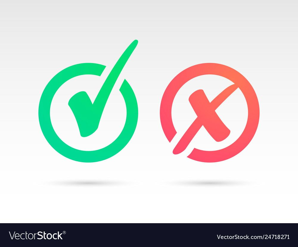 Set Of Green Check Mark Icon And Red X Cross Tick Vector Image Vector Images Icon Vector