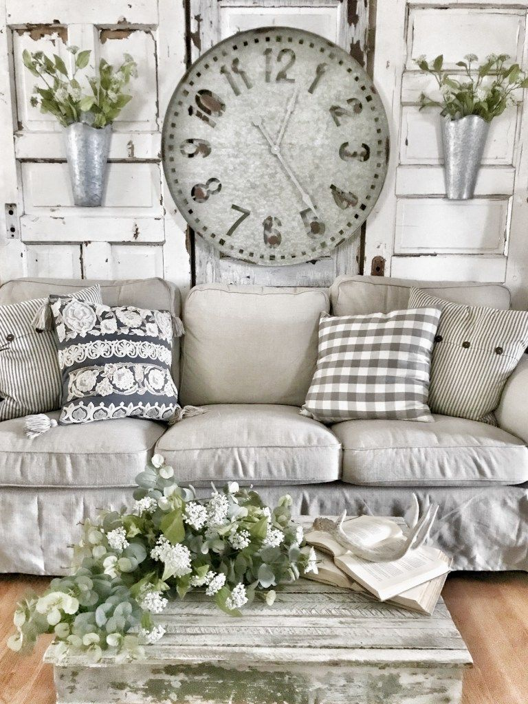 Bless This Nest   Farmhouse Oversized Clock Behind Couch In Living ...