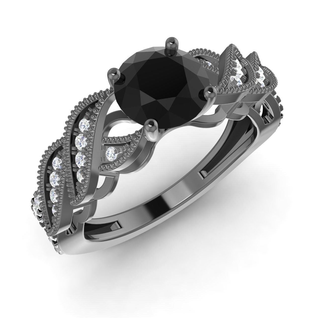 Natural black diamond and diamond engagement ring in k black gold