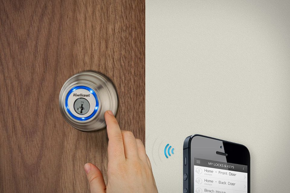 Kevo smart lock from Kwikset. Wireless entry, using bluetooth on ...