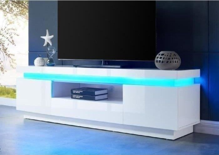 code promo 7af94 61da0 FLASH Meuble TV avec LED contemporain blanc laqué brillant ...