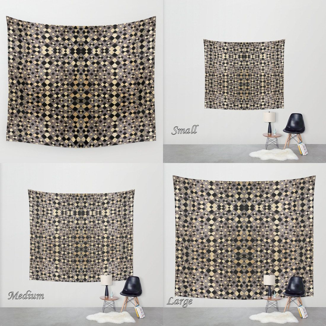 African Art - Wall Tapestry / Featuring Exclusive Kuba Raffia Cloth Design #4 / Large Wall Art by GalleriaPrimitiva on Etsy