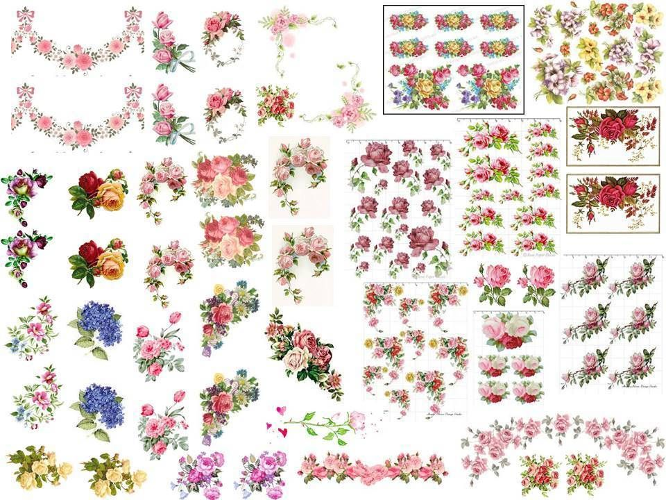 Dollhouse Miniature Shabby Chic Decals 1:12 Scale Floral Flowers Roses #4