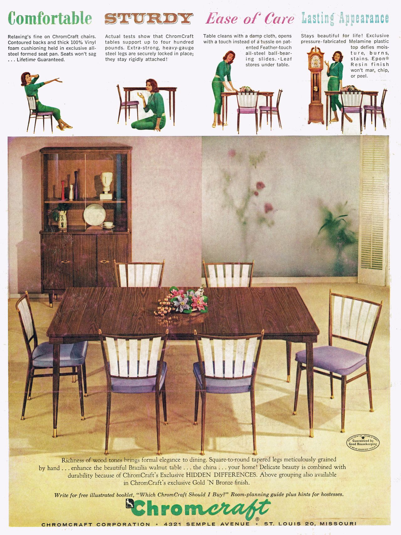 Chromcraft Furniture Kitchen Chair With Wheels Chromcraft Baroness Dining Furniture 1956 Ad Picture Chromcraft