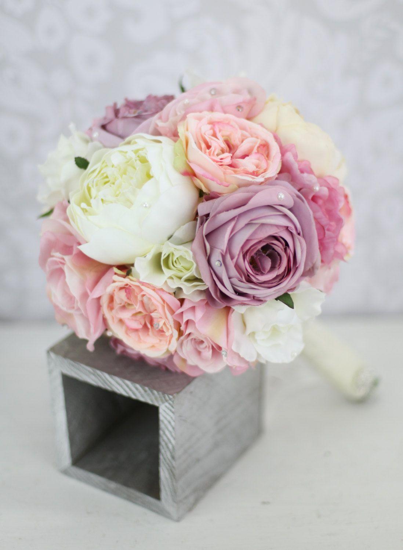 Silk Bride Bouquet Peony Pink Cream Purple Rhinestones Pearls Shabby Chic Wedding Decor 12500