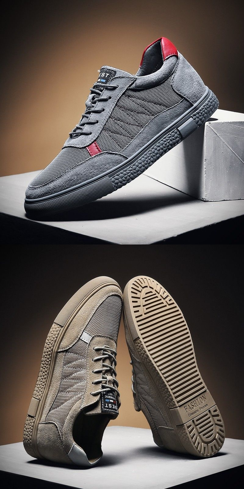Prelesty Fashion Men Casual Sneaker Shoes Lace Up Height Increasing Non-Slip Modern Design