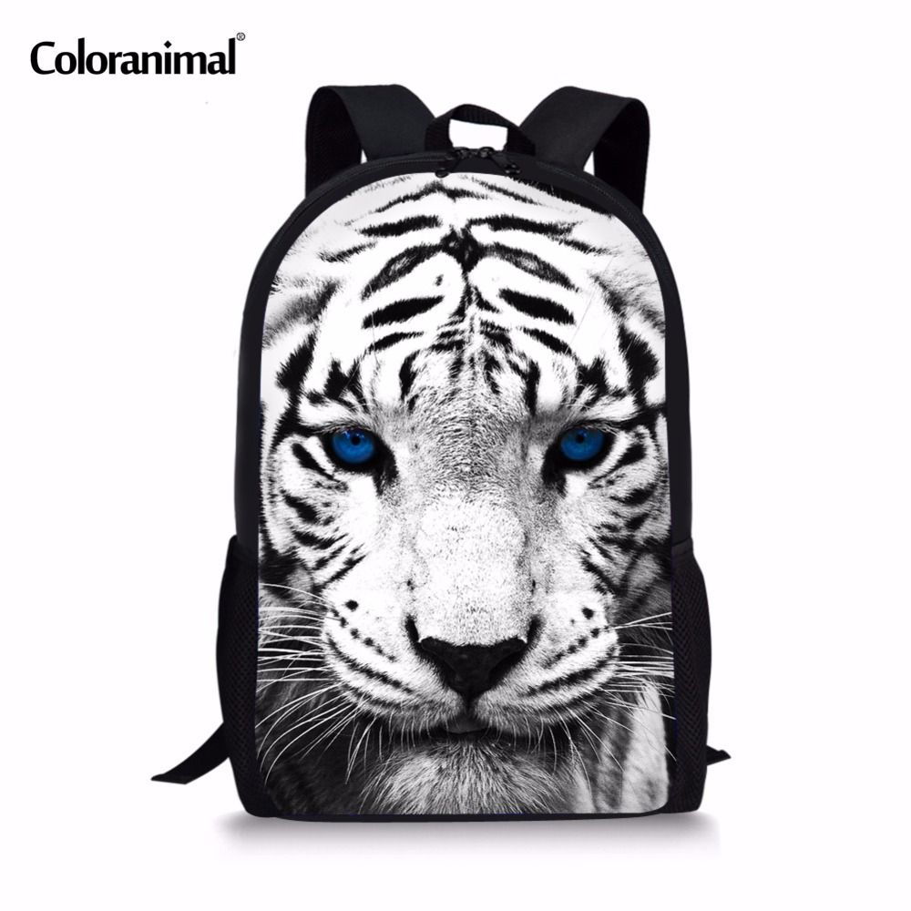 0aa86db4f94b Coloranimal With Black White Leopard Tiger Children School Backpack ...
