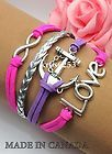 Womens Bracelet Infinity Love Anchor Pink Purple Silver Charms and Braid K863