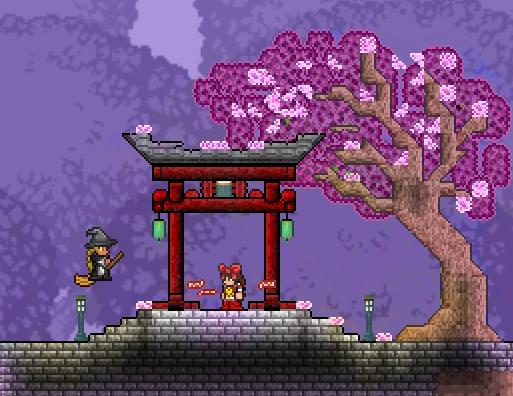 Rebuilt My Lil House From My Modded World Into 1 4 Ngl I Love These Sakura Trees Terraria Terraria House Ideas Sakura Tree Tree Painting