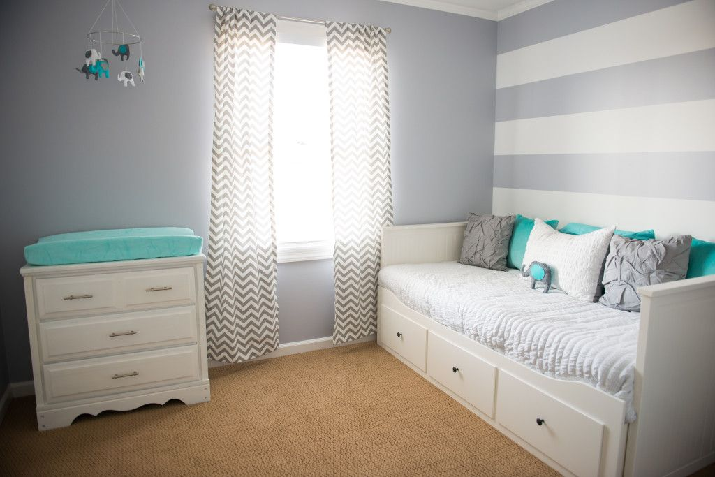 Project Nursery - grey, white, and aqua room for a girl.
