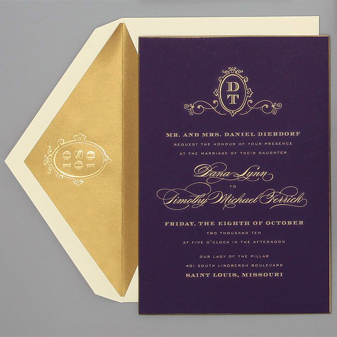 Wedding Invitations by Location – Gold and Purple Wedding Invitations