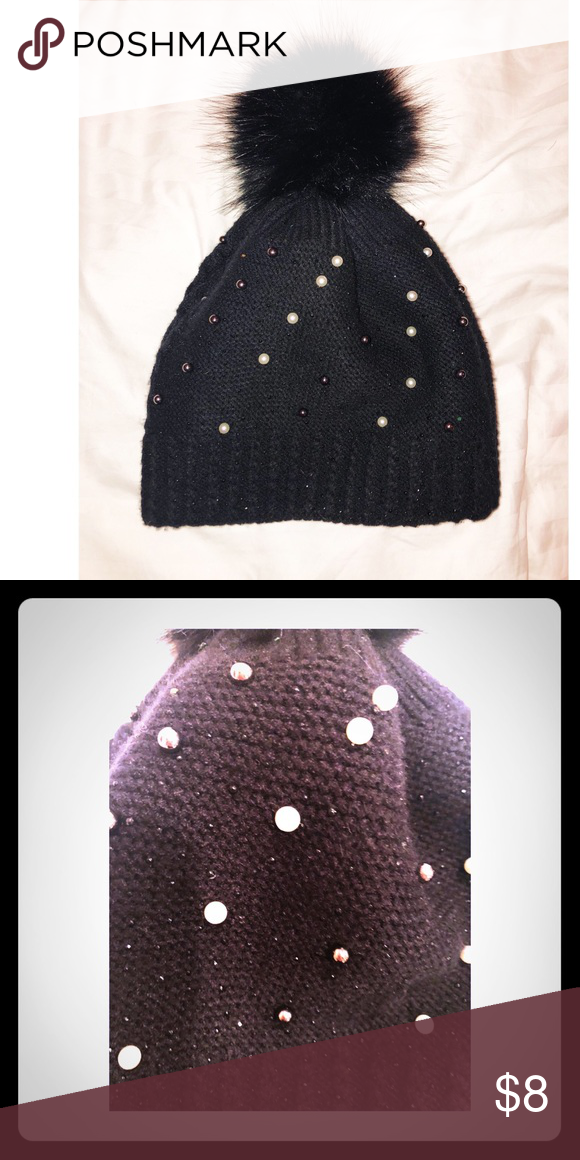 11b21fea6 Pearl and Sparkle Bobble Hat with Faux Fur Pom Black bobblehat with ...