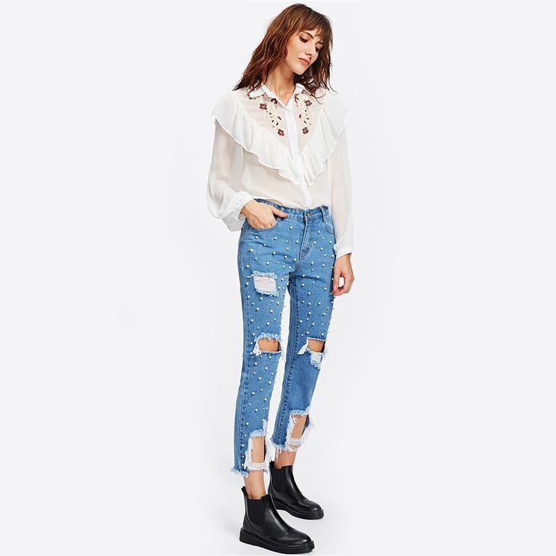 Pearl Beading Destroyed Jeans Ripped Jeans for Women Blue Mid Waist Zipper Fly Women Pants Denim Women Jeans