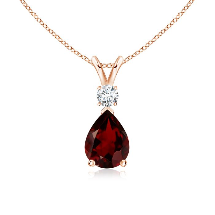 Angara V-Bale Garnet Pendant Necklace White Gold