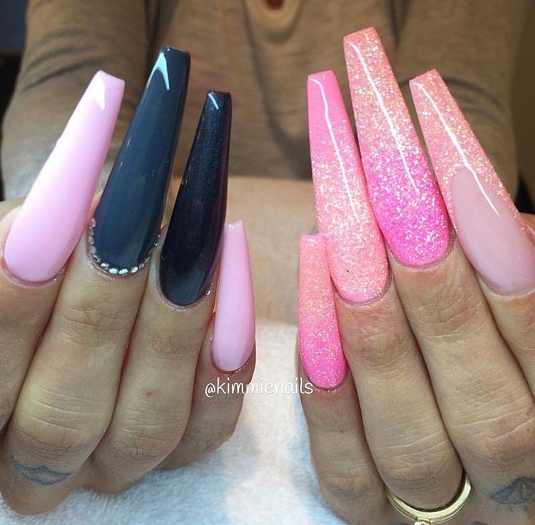 Acrylic Nail Game: Super Long Pink & Grey Acrylic Nails. Glitter Nails