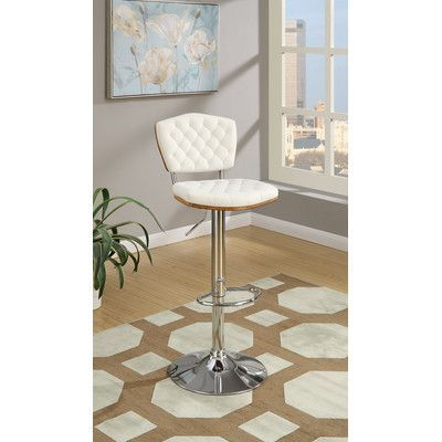 Poundex Bobkona Lyssa Adjustable Height Bar Stool Upholstery: