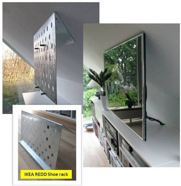 Invisible flat screen tv suspension on sloping wall - Slanted wall tv mount ...