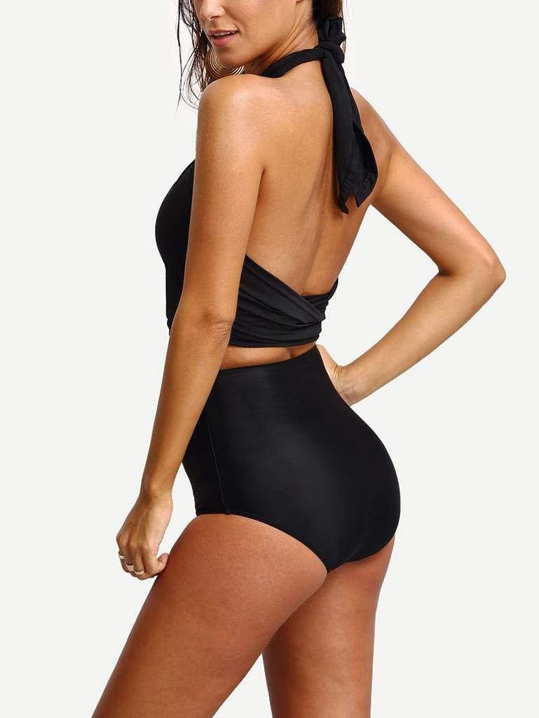 Cross Wrap Halter High Waist Bikini Set Pusshe Bikini Set High Waist Bikini Set Fashion