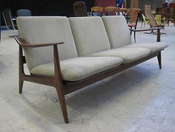 ≥ teak houten bank deens design retro vintage jaren 50 60 banken