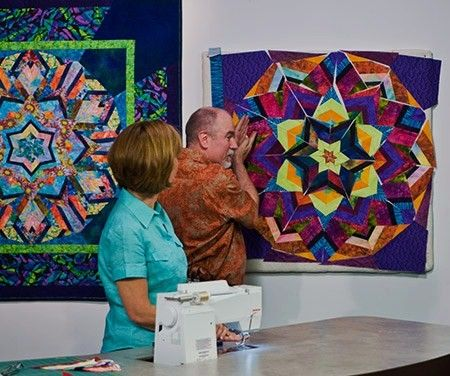 Ricky Tims Is Demonstrating The Kool Kaleidoscope Technique On One Of His Tqs The Quilt Show Shows Kaleidoscope Quilt The Quilt Show Quilt Patterns