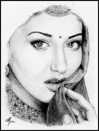 Art drawing rangoli portrait woman she looks like sonali bendre