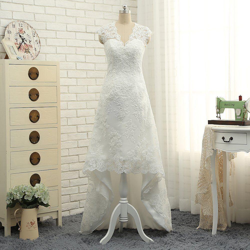 High low lace applique casual wedding dresses plus size beach bridal