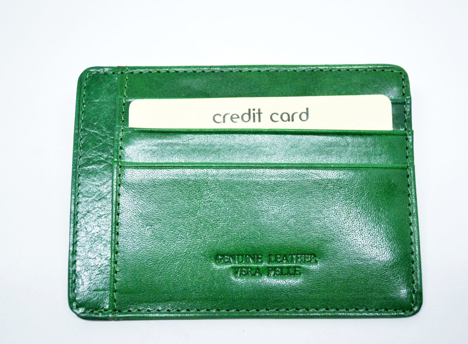 Leather Card Holder For Men Small Leather Card Holder Green Business ...