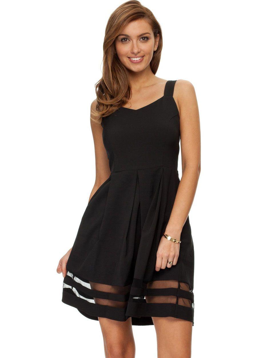 Black wide strap contrast gauze sun dress sheinside black wide strap contrast gauze sun dress sheinside ombrellifo Choice Image