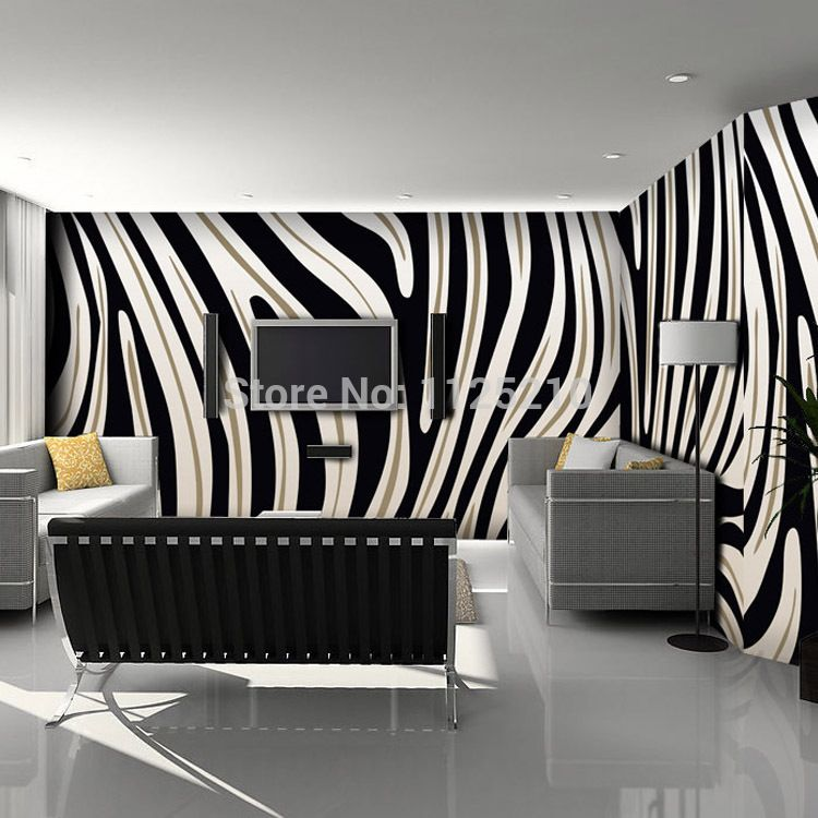Free Shipping 3d Stereo Zebra Stripe Wallpaper Art Abstract