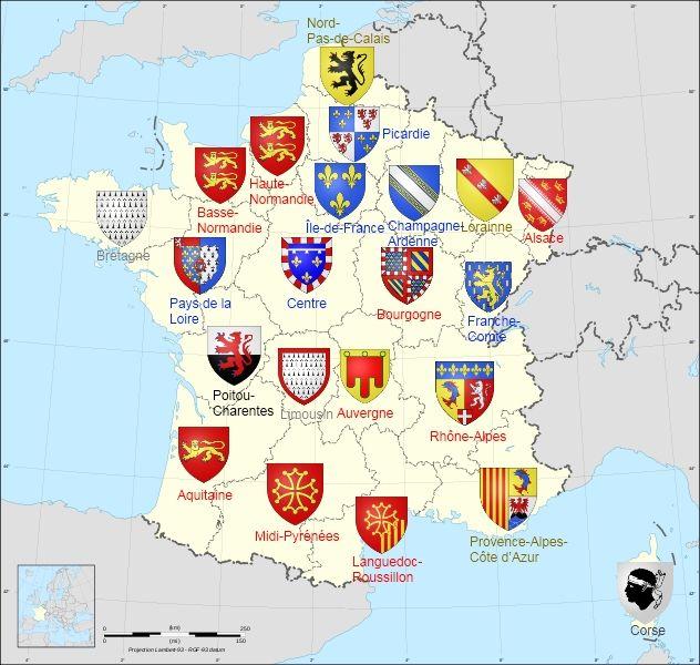 22 Regions De France Metropolitaine Y Compris La Collectivite