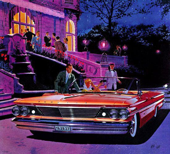 1960 Pontiac Grand Prix ad illustrated by Fitzpatrick and Kaufman. Art Fitzpatri…