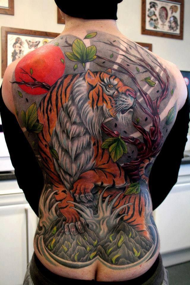 Japanese tiger full back piece | Crazy tattoos | Pinterest ...