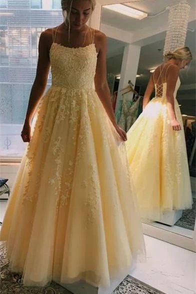 Yellow Long Prom Dress with Applique and Beading ,Fashion Dance Dress,Sweet 16 Quinceanera Dress PDP0279 1