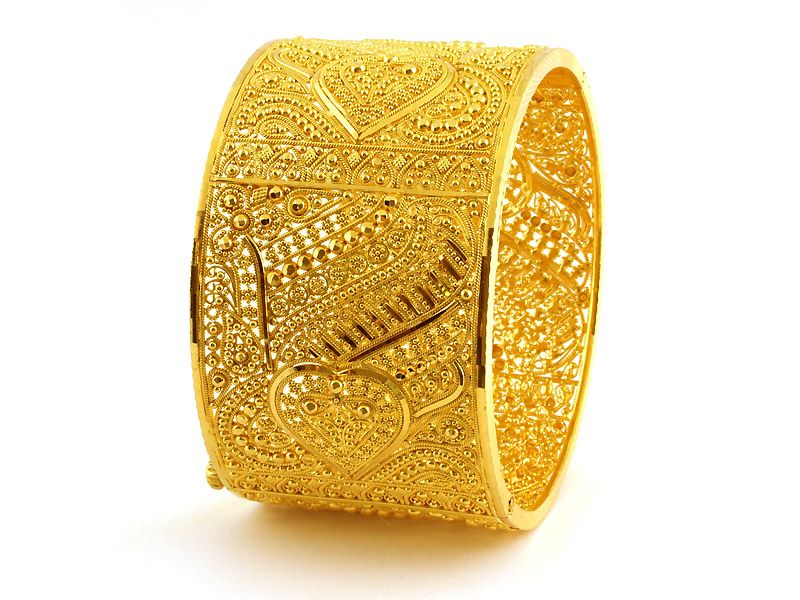 Gold Jewellery Designs | 75.85g 22Kt Gold Filigree Bangle / Kara ...