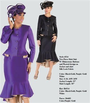 "Tally Taylor 4514 2 piece Skirt Suit Colors: Black/Gold, Purple/Gold, White Jacket Length: 25"" Skirt Length: 30"" Sizes: 6, 8, 10, 12, 14, 16, 16W, 18, 18W, 20W, 22W, 24W, 26W Hat: H4512 Purse: B4483 Purple/Gold"