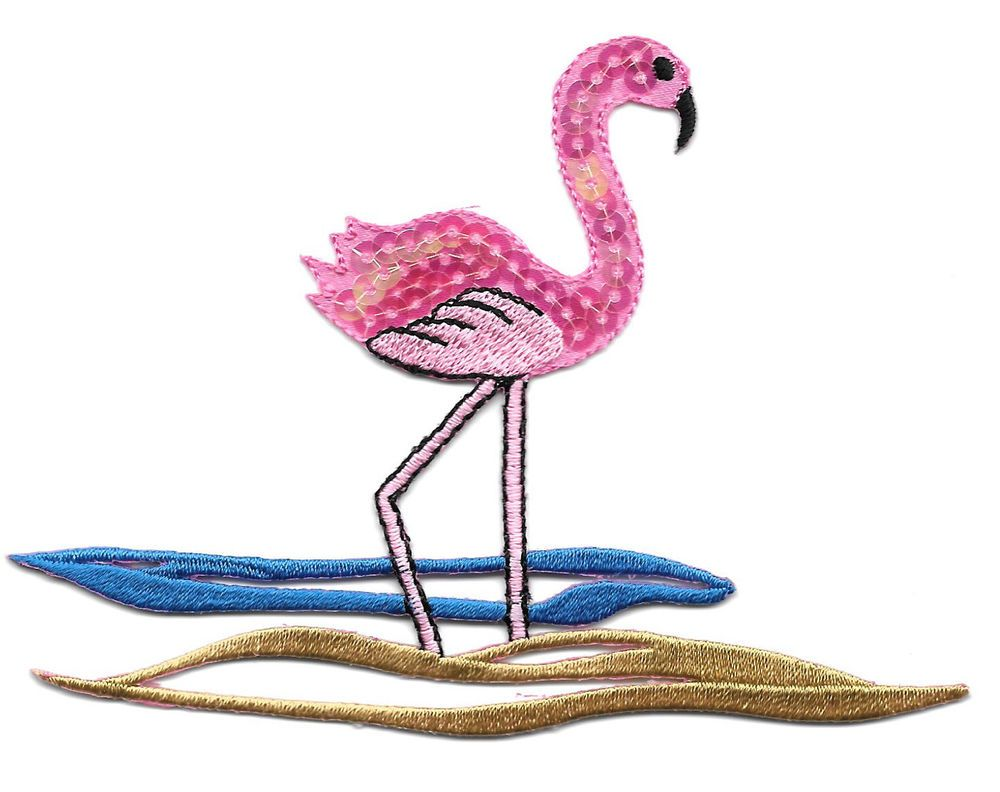 Bird - Flamingo -Tropical -  Embroidered Sequin Iron On Applique Patch