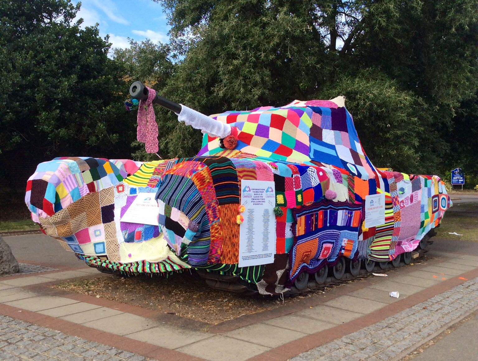 Our yarn bombed Churchill Tank outside the DDay Museum Southsea during Victorious Festival 2014. #operationtanktop to raise awareness for breast and testicular cancer.  Feel Yourself Campaign & Earth Wool & Fire.