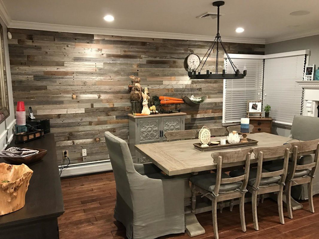 """3"""" Reclaimed Peel and Stick Solid Wood Wall Paneling (With"""