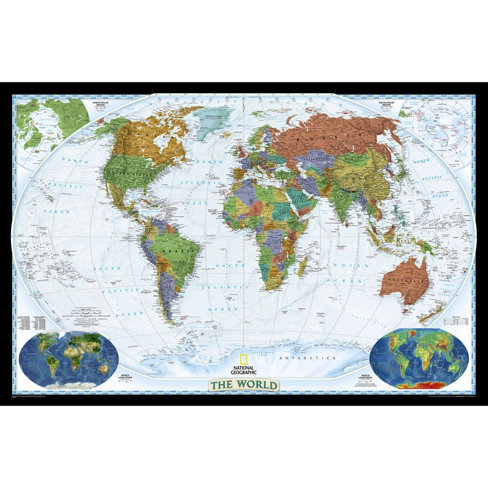 world political map bright colored laminated national on laminated wall maps id=82592
