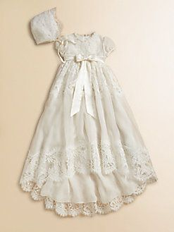 Gorgeous Beaded Embroidery Long Christening Dress Baby Lace Baptism Robe Gown