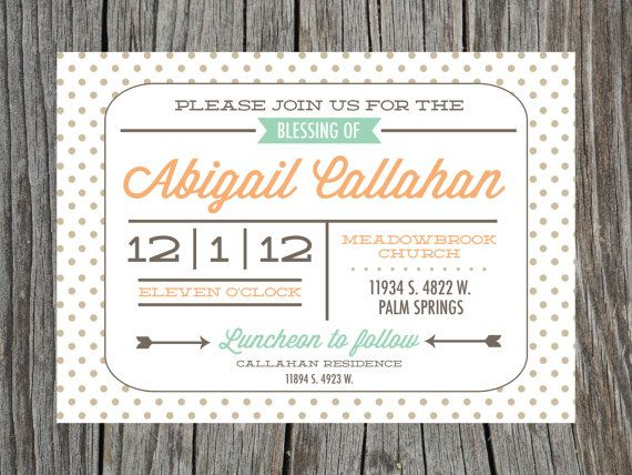 Items similar to LDS Baby Blessing Invitation Printable Mormon on ...