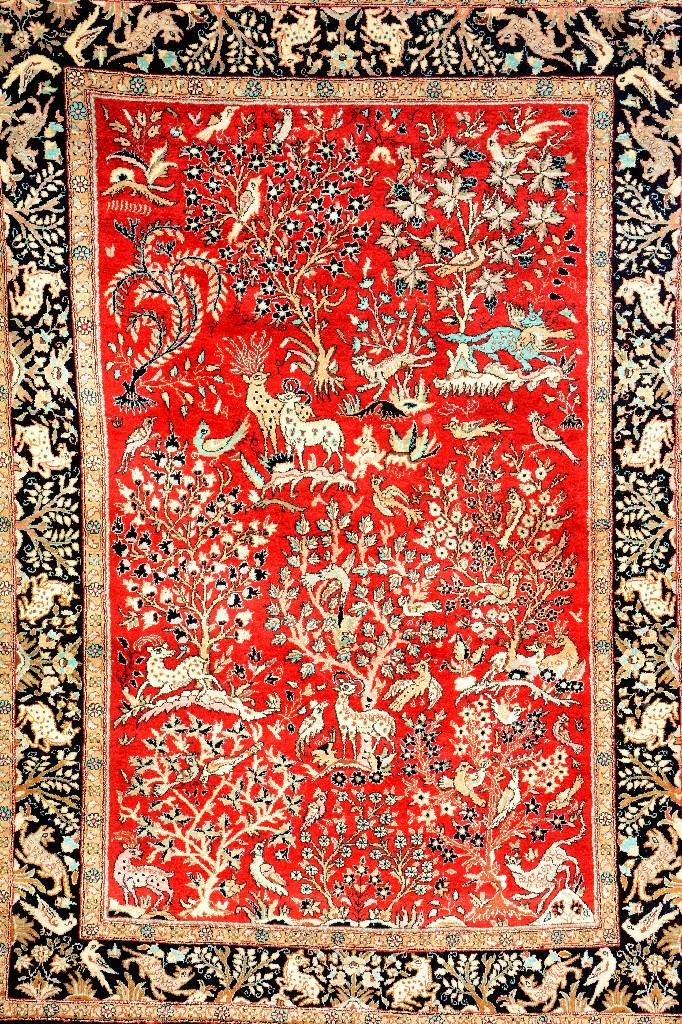 Silk Qum, Persia, circa 40 years old, pure silk, approx