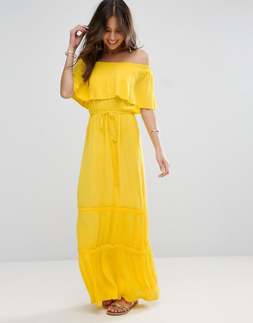 ce275527b88 ASOS Tiered Off Shoulder Maxi Dress - Yellow