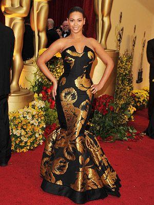 Oscar-fashion/Beyonce-black-gold-dress | Niki Minja and Beyonc\'e ...