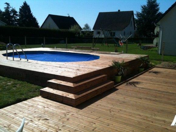 Piscine int gr e dans une terrasse bois pool pinterest - Piscine integree dans terrasse ...