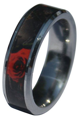 SureFire Designs Womens Camo Wedding Ring 6mm comfort fit Red Forest